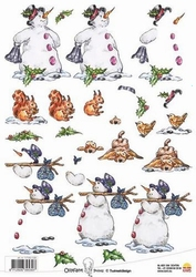 A4 Kerstknipvel Ollyfant 1206 sneeuwpop met bel