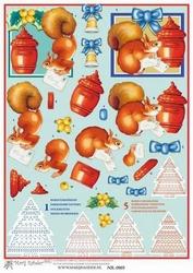 A4 Knip & borduurvel Mary Rahder 0905 Kerstboom