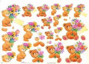 Knipvel A4 Mireille E621 Beertje met bloemen