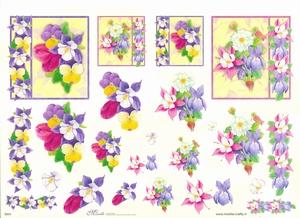 Knipvel A4 Mireille E624 Bloemen in vierkant