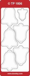 Kerst Stickervel Doodey Transparant TP1806 Klokken