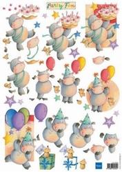 MD A4 Knipvel FUN0001 Party fun Nijlpaardjes