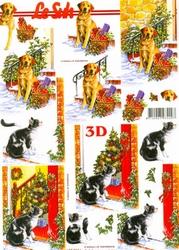 A4 Kerstknipvel Le Suh 650011 Hond/poes bij deur