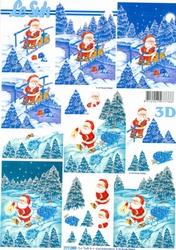 A4 Kerstknipvel Le Suh 777080 Sneeuwman met slee/zak