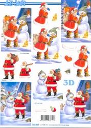 A4 Kerstknipvel Le Suh 777082 Kerstmen bij sneeuwman