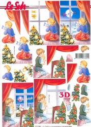 A4 Kerstknipvel Le Suh 777081 Kindje voor het raam
