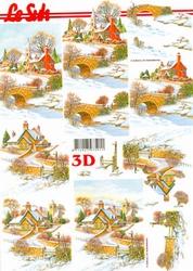 A4 Kerstknipvel Le Suh 650002 Huis/kerk in de sneeuw