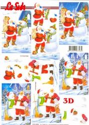 A4 Kerstknipvel Le Suh 777075 Kerstman bij neeuwman