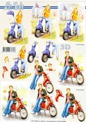 A4 Knipvel Le Suh 777125 Jongen/meisje met scooter
