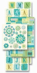K&Company Adhesive Chipboard Accents blue floral
