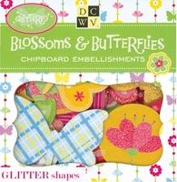 DCWV Box of chipboard icons EM-025-020 Blossom & butterflies