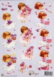 A4 Knipvel Fema Design F005 Meisjes taart bloemboeket