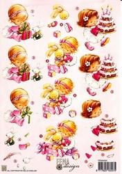 A4 Knipvel Fema Design F004 Meisjes taart cadeautje