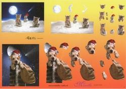 Knipvel A4 Mireille Örme 03 Hond in schouw & poes in sneeuw