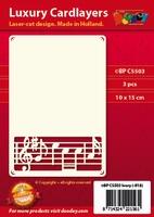 1 Doodey Luxe oplegkaart stans BPC5503 Muziek notenbalk