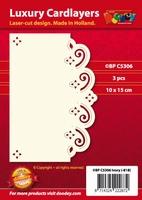 1 Doodey Luxe oplegkaart stans BPC5306 Floraal met golven