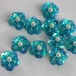 Flower Sequin met parels 07 azuurblauw