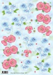 3D Knipvel Anne Design VBK 2471 Bloem roze en blauw