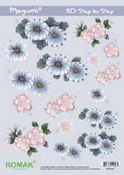 A4 Knipvel Megumi 03 Bloemen roze/grijs