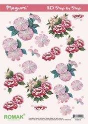 A4 Knipvel Megumi 02 Bloemen roze/rood
