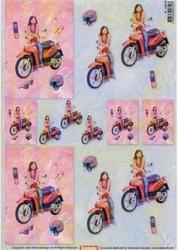 A4 Knipvel Stenbode 466338 Tienermeisje met scooter