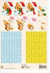 A4 Knipvel Fema Design FM002 beertje met bloem
