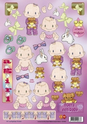 A4 Knipvel Carddeco CD10035 Betsy Lurvink Hoera een baby