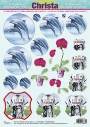 A4 Knipvel Christa SL 06 Dolfijnen/moto/bloem