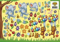 A4 Knipvel Forest Friends CD10024 Olifant/beer/ballonnen