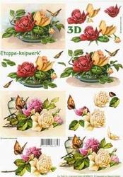 A4 Knipvel Le Suh 4169612 Bloemen rozen met vlinder