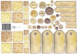 A4 Knipvel Marjoleine Labels 309519 bruintinten