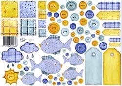 A4 Knipvel Marjoleine Labels 313608 geel/blauw met visjes