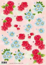 3D Knipvel Anne Design VBK 2472 rode en blauwe bloemen