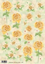 3D Knipvel Anne Design VBK 2458 gele roos