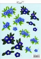 MD A4 Knipvel Ceciel CE 6503 Blauwe bloemen