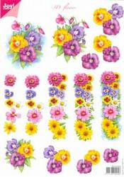 A4 Knipvel Joy 3D Flowers 6010/0022 Bonte bloemen