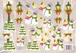 A4 Kerstknipvel Nel van Veen 2289 Sneeuwmannen