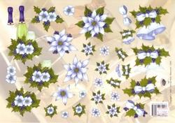 A4 Kerstknipvel Nel van Veen 2292 Blauwe bloemen en hulst