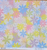 Scrapbookpapier Rayher dubbelzijdig 1 bloemen lila/roze
