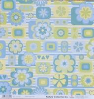 Scrapbookpapier Rayher dubbelzijdig 2 bloemen blauw/groen