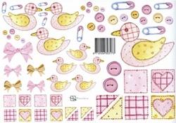 A4 Knipvel Marjoleine 712926303173 Baby roze eendjes
