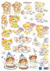 A4 Knipvel MD FUN007 Beary Sweet flowers