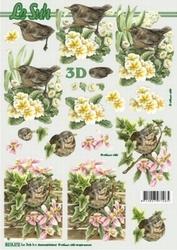 A4 Knipvel Le Suh 8215372 Vogel musje met bloemen