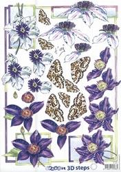A4 Knipvel Marianne Design Shake it 464 Paars/witte bloem