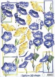 A4 Knipvel Marianne Design Shake it 463 Blauwe bloemen