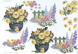 A4 Knipvel Wekabo 435 Bloemen bij hek/in pot