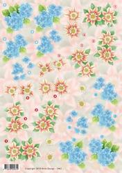3D Knipvel Anne Design VBK 2461 geel/oranje/blauwe bloemen