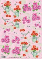 3D Knipvel Anne Design VBK 2485 rode bloemen in gieter