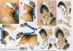 A4 Knipvel Le Suh 4169127 Dame met witte hoed en blauw lint
