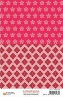 A5 Lucido Patch papier LUPA08 bloem en ruit rood